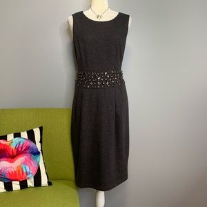 Lafayette 148 Grey Wool Jeweled Waist Sheath Dress
